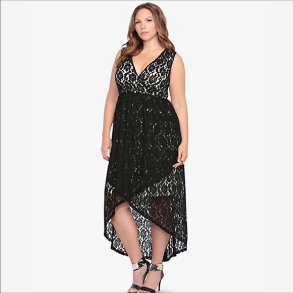 torrid Dresses & Skirts - TORRID Black Lace High Low sexy Plunge Dress goth